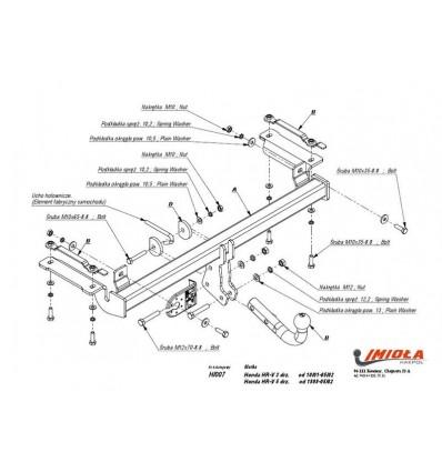 Фаркоп Honda HR-V 3/5 дверей 1999-2002 (IMIOLA)