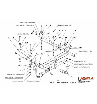 Фаркоп для Honda Accord седан с 2002-2008 (IMIOLA)